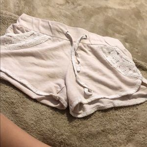 Cream Softee Shorts with Lace